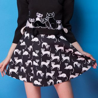 skirt black cats kawaii kawaii grunge cute halloween skater skirt hipster trendy black sweater goth punk lolita tumblr goth hipster all black everything it girl shop