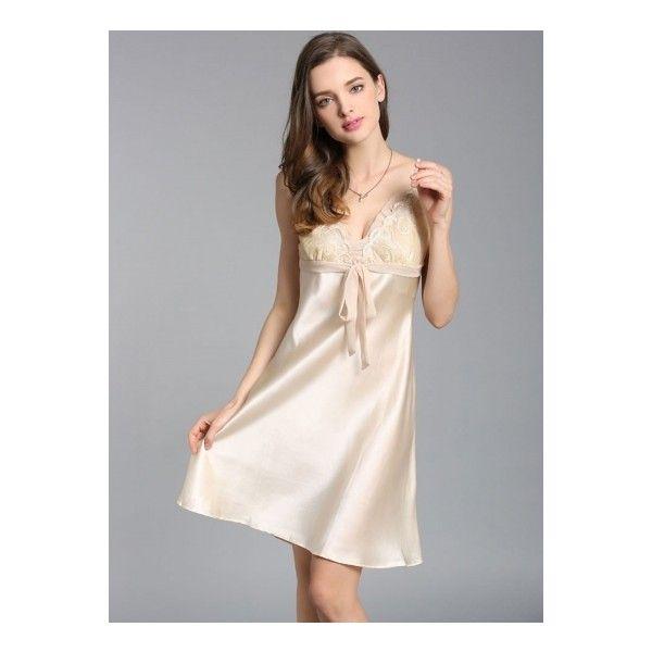 Ladies Brand New Pure Silk Nightdress Sleepwear– Beige