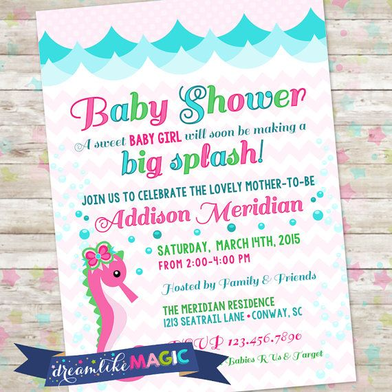 Baby Shower Invite Baby Girl Seahorse Invite By by DreamlikeMagic - invitation to a party