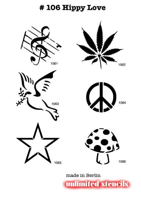 airbrush tattoo stencils hippy love set 106 mylar romantic tattoos stencils pinterest. Black Bedroom Furniture Sets. Home Design Ideas
