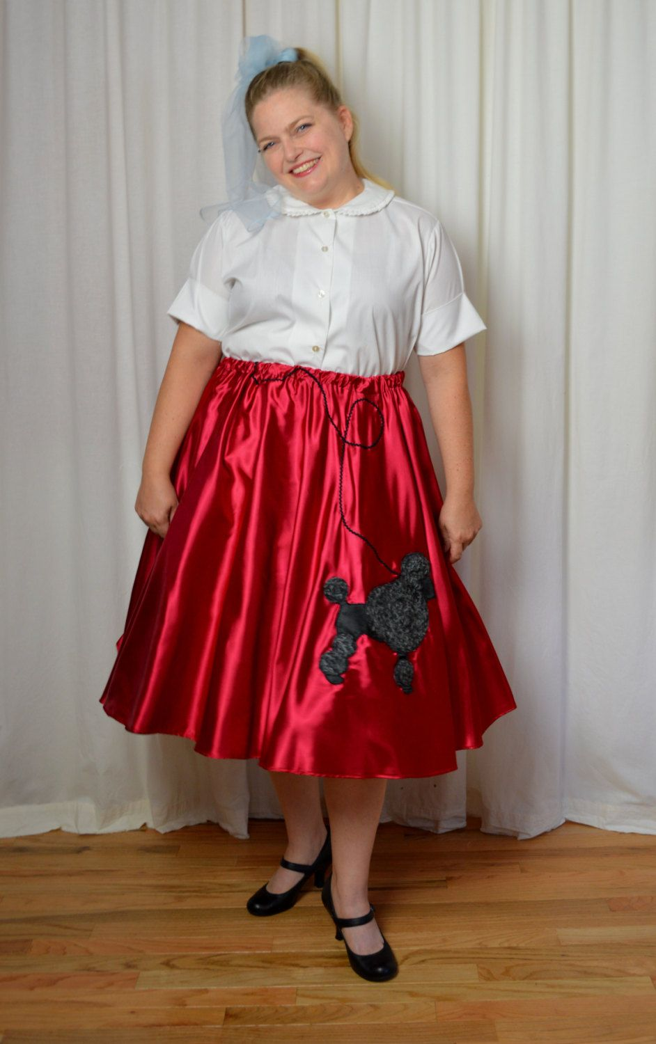Red Poodle Skirt Costume Satin Plus Size Curvy
