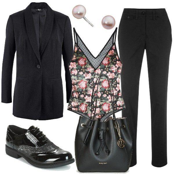 Outfit Black I E Come Nera Stringate Quasi Giacca Oversize Le Pantaloni Totalità AACwqOHx4a
