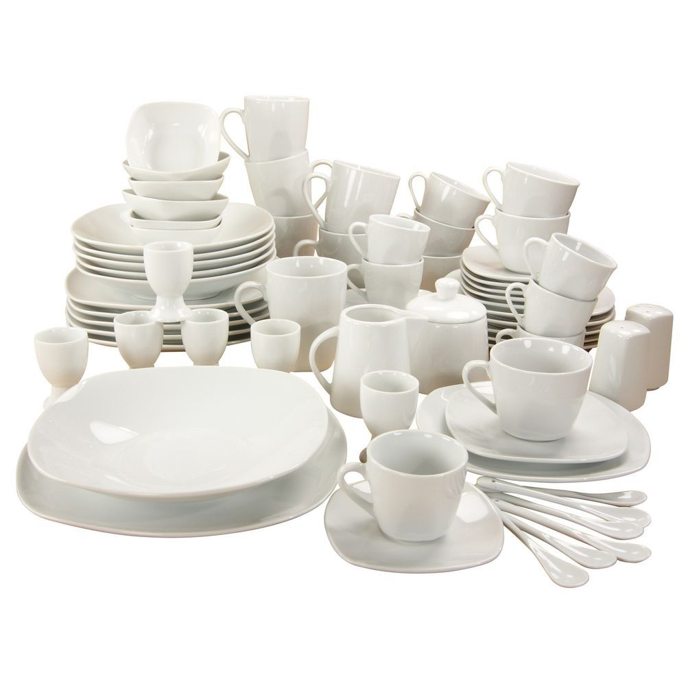 White Square Dinner Set Table 70 Piece Dinnerware Home Plates Dishes Bowls  Cups #WhiteSquareDinnerSet #