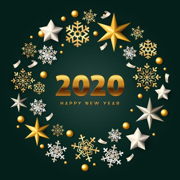 Download Happy New Year Gold And Silver Christmas Wreath On Green
