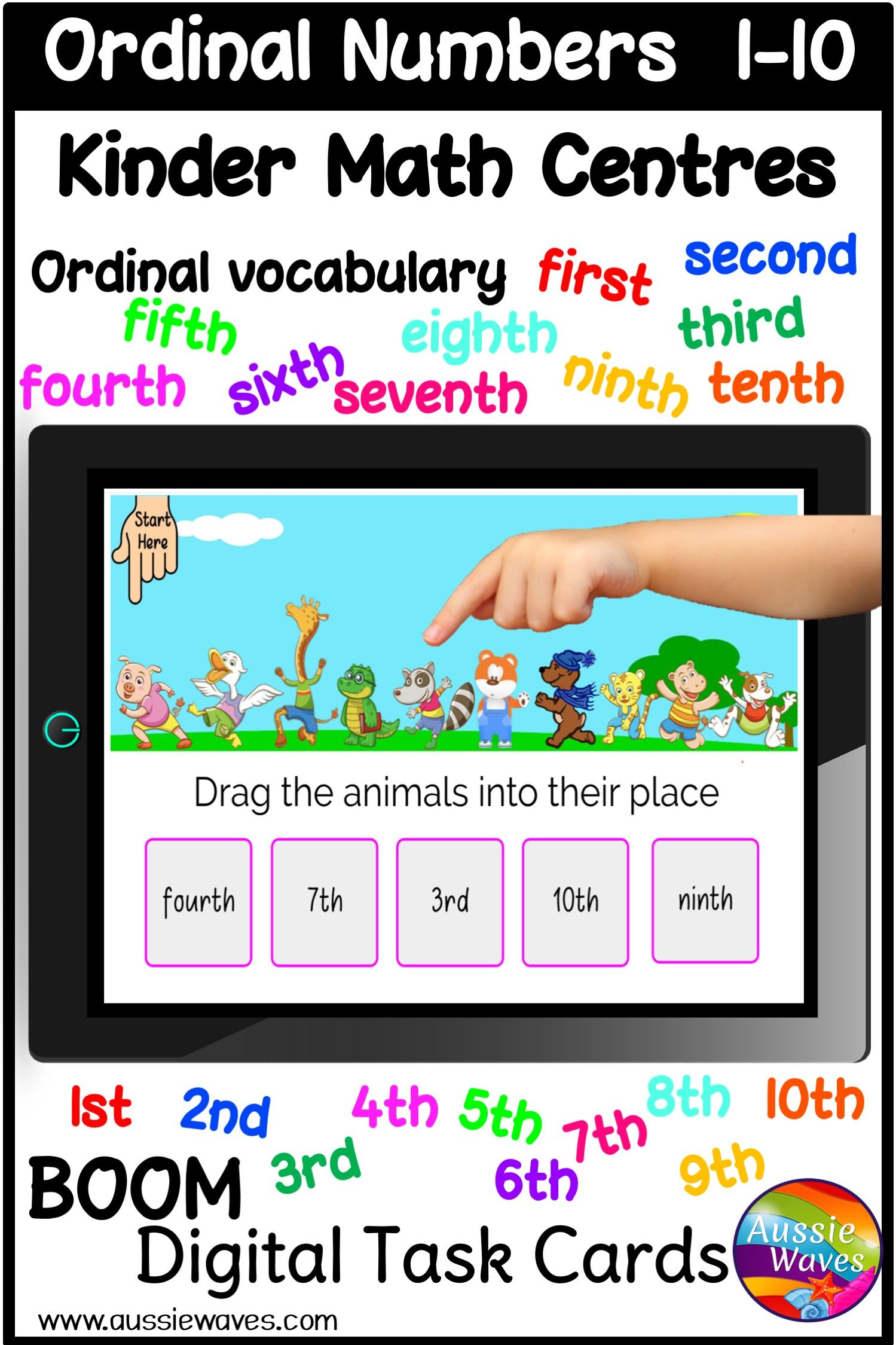 Ordinal Numbers Kinder Math Centre Boom Activities In