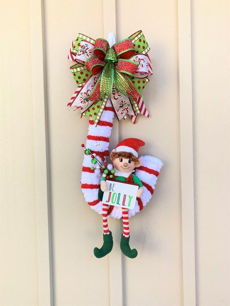 Cute Christmas Wreath, Candy Cane Wreath, Elf Wreath in