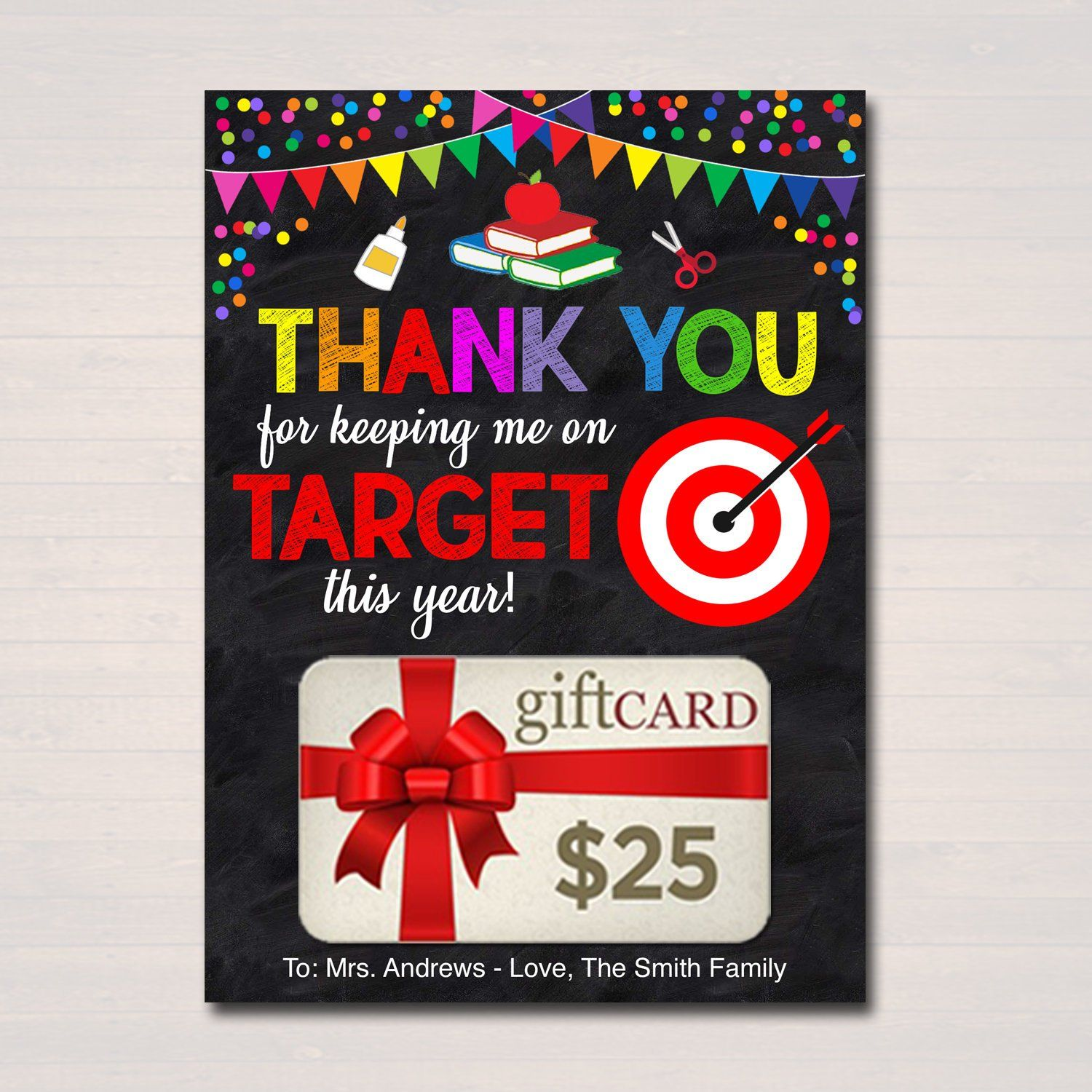 Editable gift card holder thanks for keeping me on target