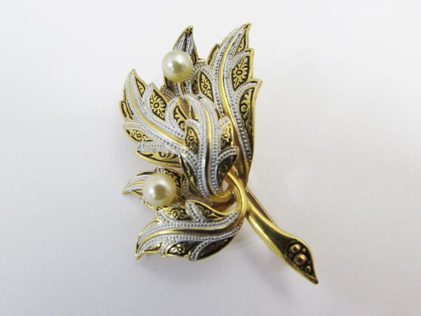 Vintage Damascene Brooch Pearl and Leaf Bouquet - Etagere Antiques, Vintage, Collectibles