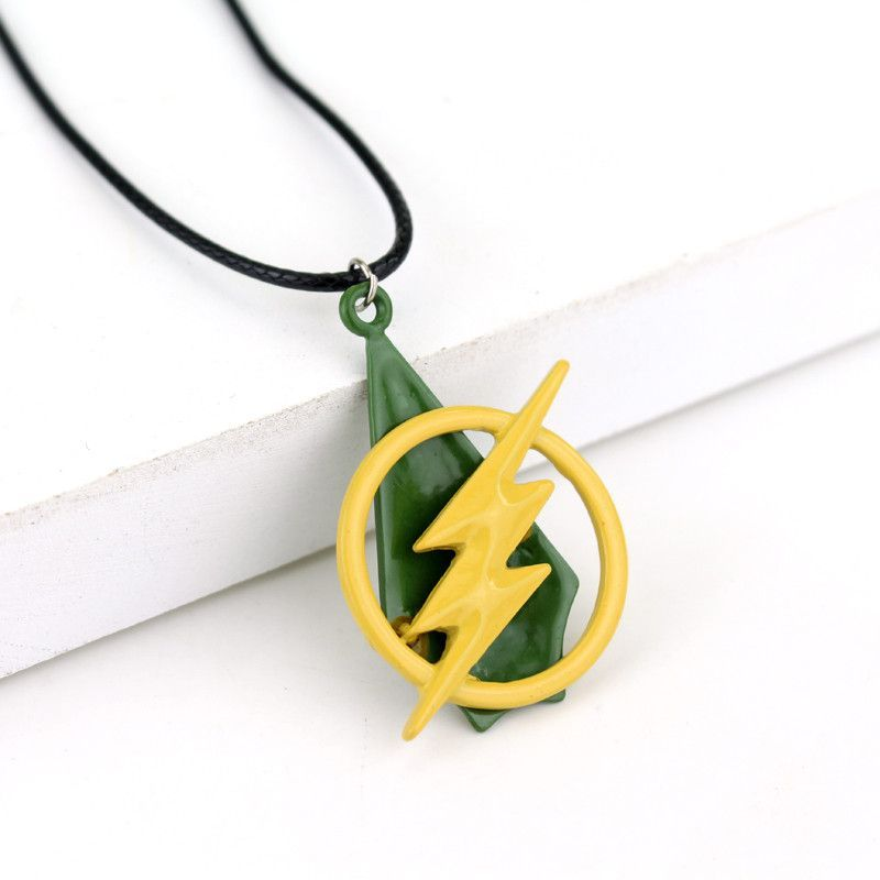 Movie Series Creative Accessories Styles Super Hero The Flash Lightning And Green Arrow Combine Pendant Necklace