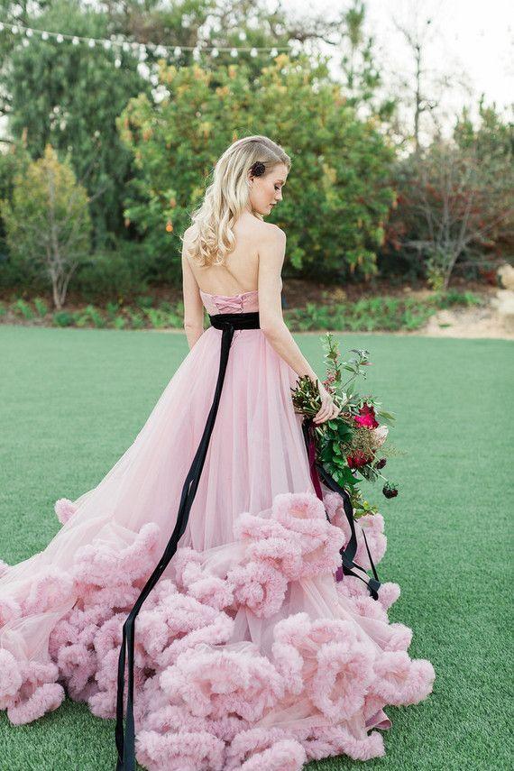 pink + black wedding dress | Ring of Honor | Pinterest | Wedding ...