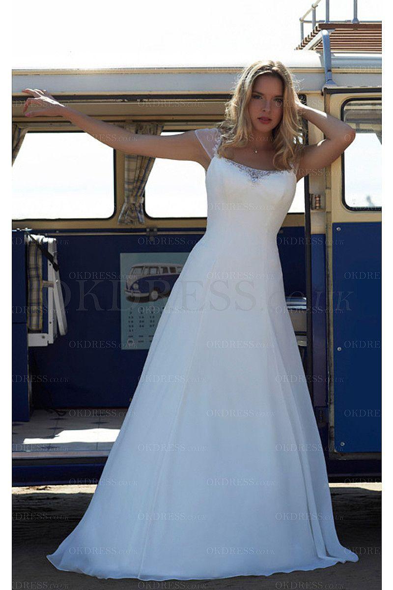 A-line Square Chiffon Sweep Train Wedding Dresses - by OKDress UK ...