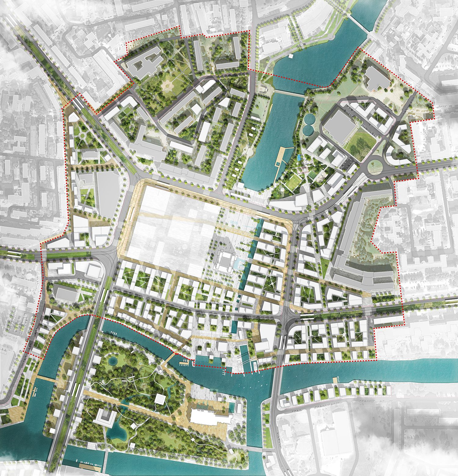 Masterplan urban regeneration 2nd place at the for Grid landscape design