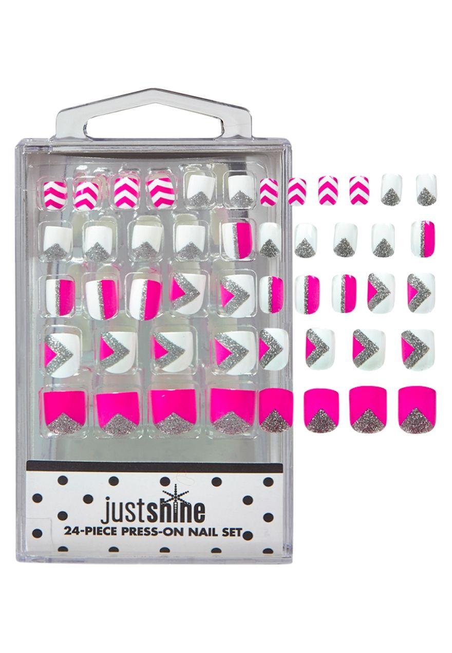Just Shine Pink Chevron Press On Nails | Justice stuff | Pinterest ...