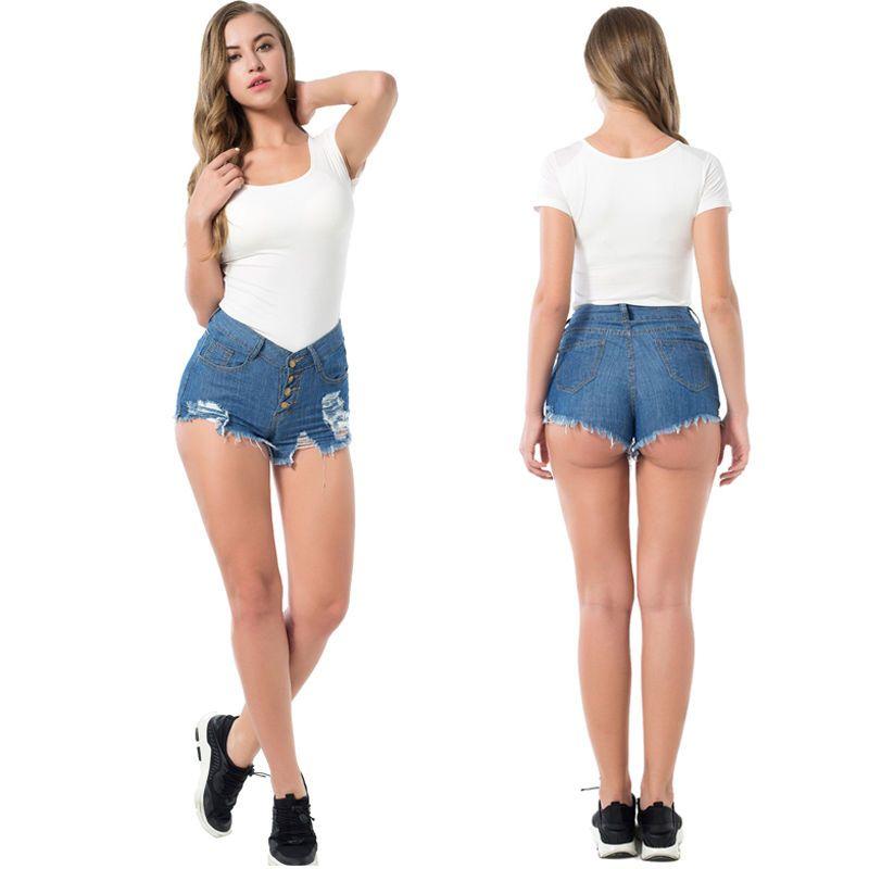 4b1d97c65d Women Summer High Waist Denim Jeans Beach Pants Casual Short Ripped Shorts  Hot