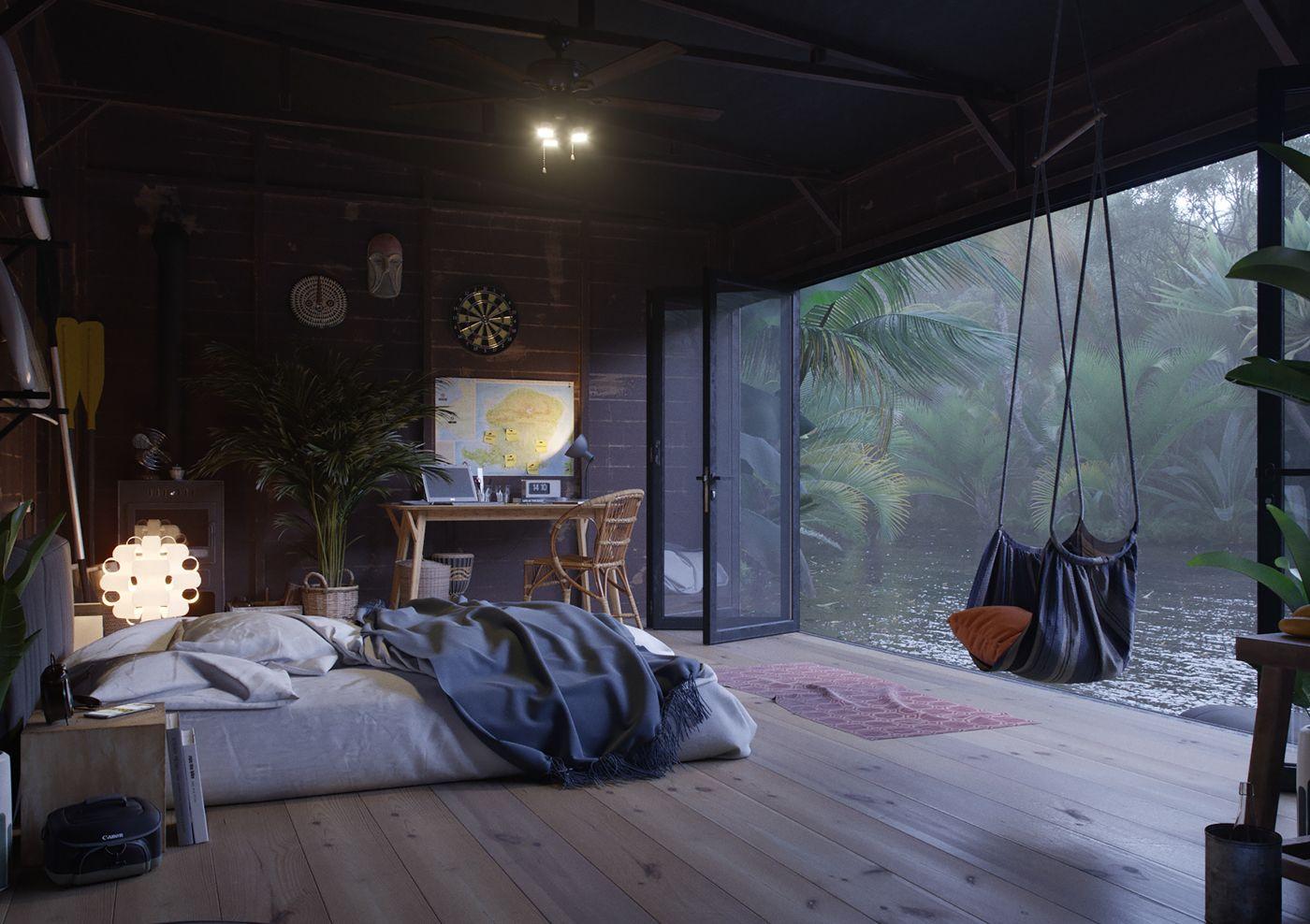 Une petite maison sur l'eau  PLANETE DECO a homes world is part of Cozy bedroom - Une petite maison sur l'eau Dmitri Reviakin est un designer et un artiste 3D, qui a imaginé cette petite maison en bois sur l'eau, sur une petite île d'Indonésie, appelée Lombok  On y arrive par bateau, et on est entouré par la jungle, les animaux, dans un paysage de début du monde, à la fois loin de la civilisation, et en même temps totalement immergé dans la modernité de cette construction
