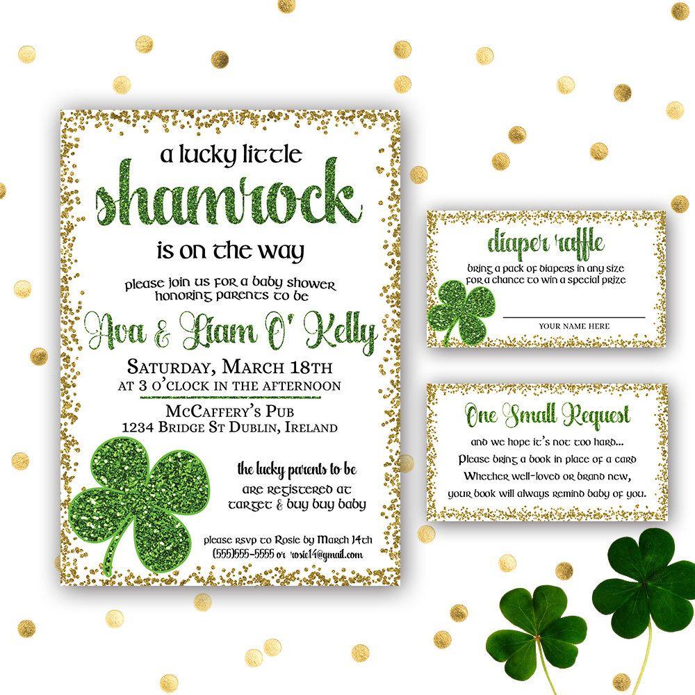 Irish Baby Shower Invitation Set Shamrock Baby Shower Shamrock