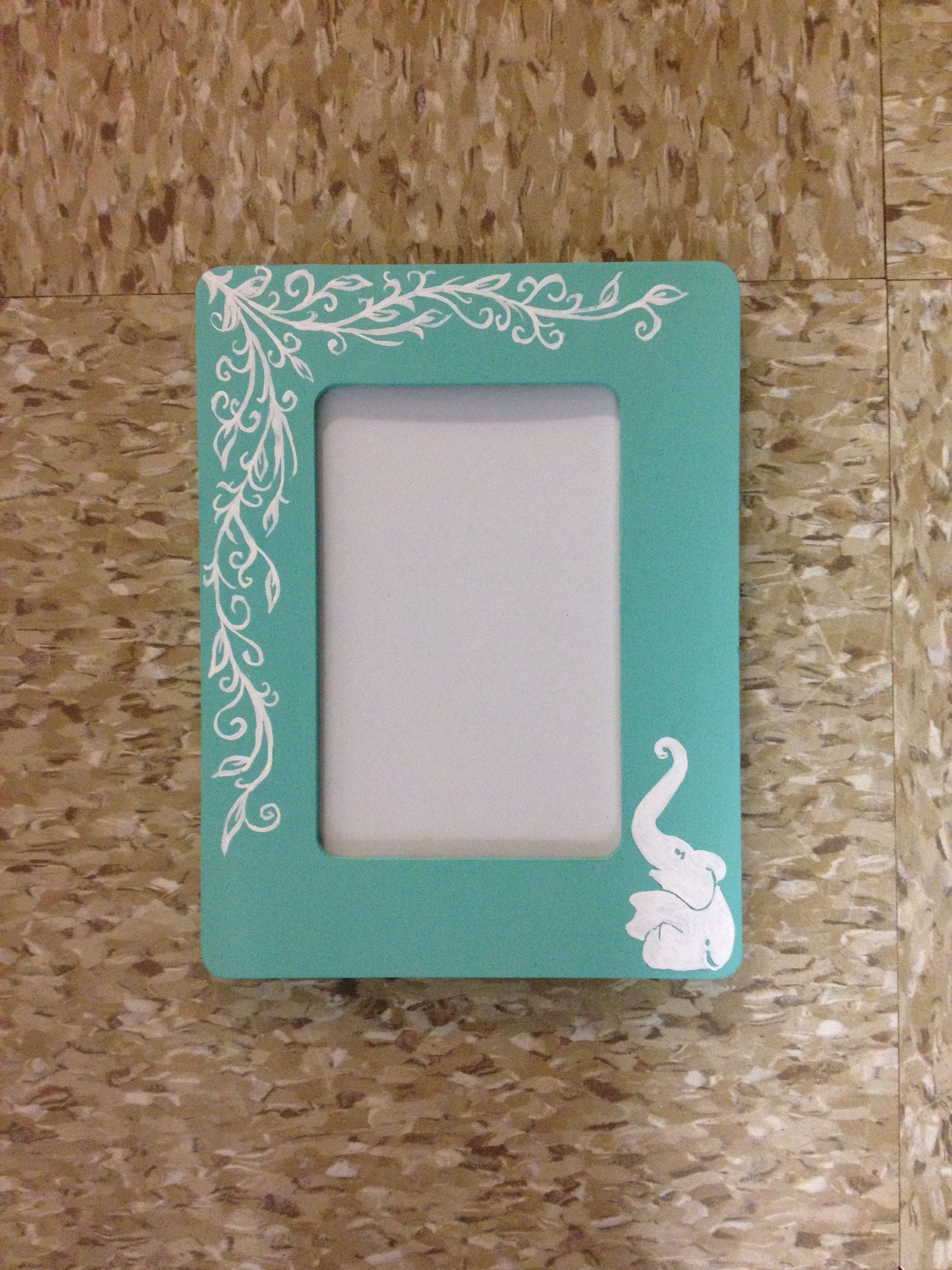 Hand Painted Elephant Picture Frame Floral Elephant Picture