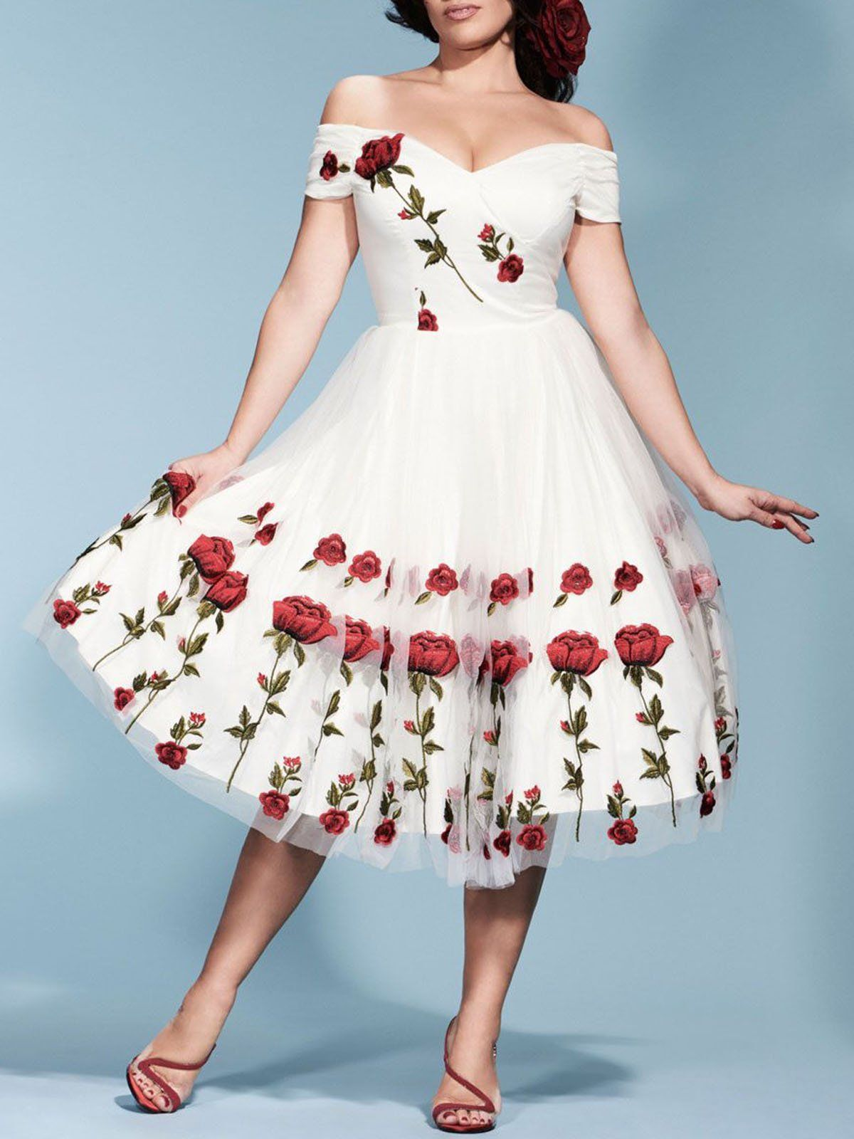 a3e0feaff9697 1950s Rose Embroidery Wedding Dress – Retro Stage - Chic Vintage Dresses  and Accessories