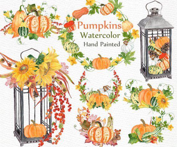 "watercolor pumpkin clipart ""harvest"