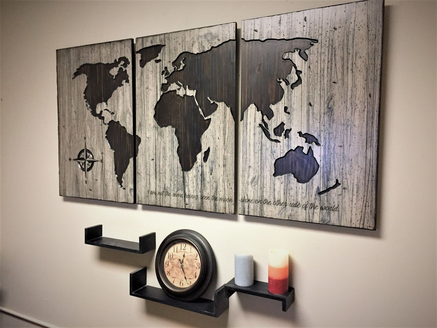 Large World Map, Home Wall Decor Idea, Wood Wall Art, Custom Map ...