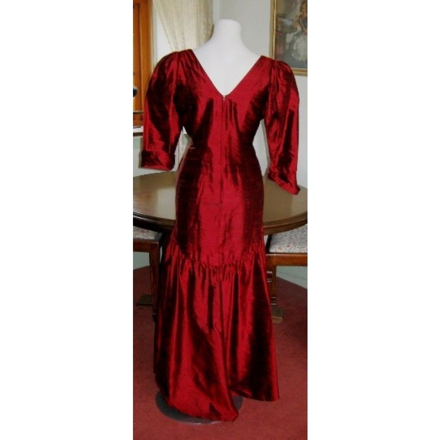 SOLD: Droopy & Browns 80s russet red silk evening dress ball gown ...