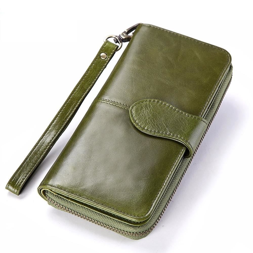 M genuine leather female zipper wallet women luxury brand