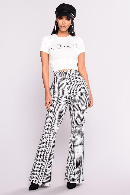 a847a6656f Houndstooth Wide Leg Trouser Pants - Black/White | Closet | Pants ...
