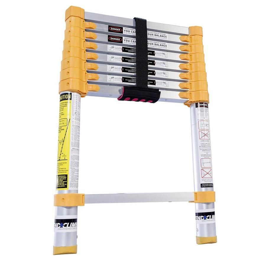 Xtend Climb Homeseries Aluminum 8 5 Ft Type 2 225 Lbs Capacity Telescoping Extension Ladder Lowes Com Ladder Clever Gadgets Adjustable Ladder