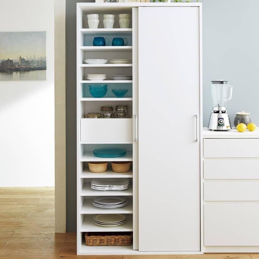 棚板たっぷりラクラク引き戸食器棚 幅90cm 奥行39cm 通販 ディノス キッチン 背面収納 食器棚 引き戸 キッチン 間仕切り