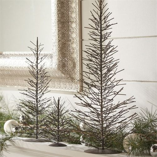 Metal Tabletop Christmas Tree: Small Natural Metal Tree Wire Frame Tabletop Decoration