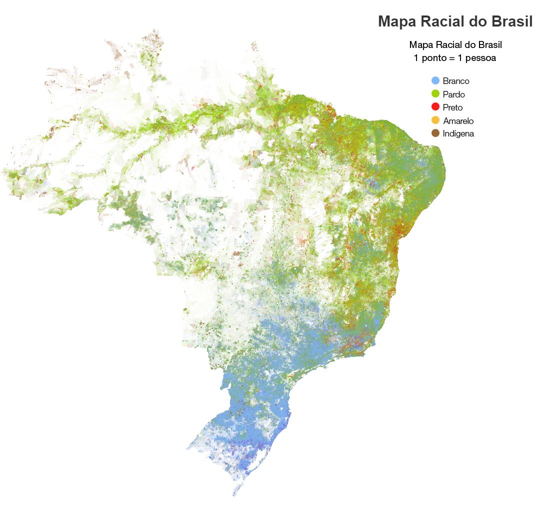 Racial dot map of Brazil   Maps   Pinterest