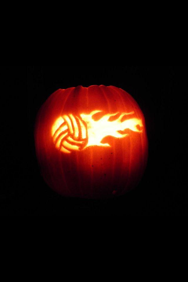 Flaming volleyball pumpkin halloween pinterest