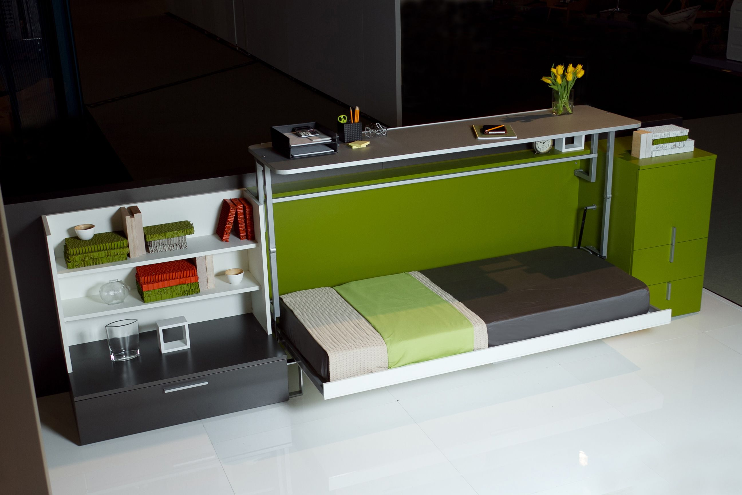 The Cabrio IN is a horizontally opening twin size wall bed with a desk that