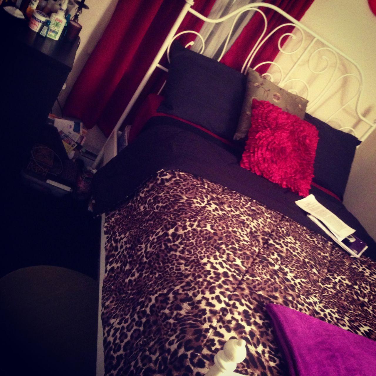 bedroom or living room black dark red and cheetah