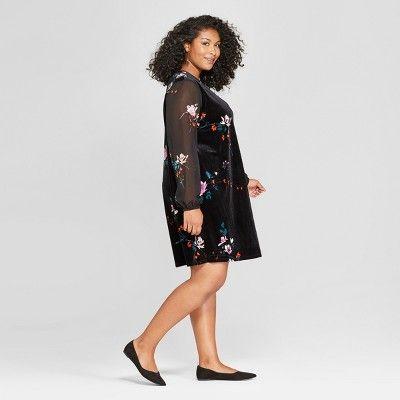 a7cfa5ef09e2 Women's Plus Size Floral Print Chiffon Sleeve Velour Dress - Ava & Viv  Black 1X
