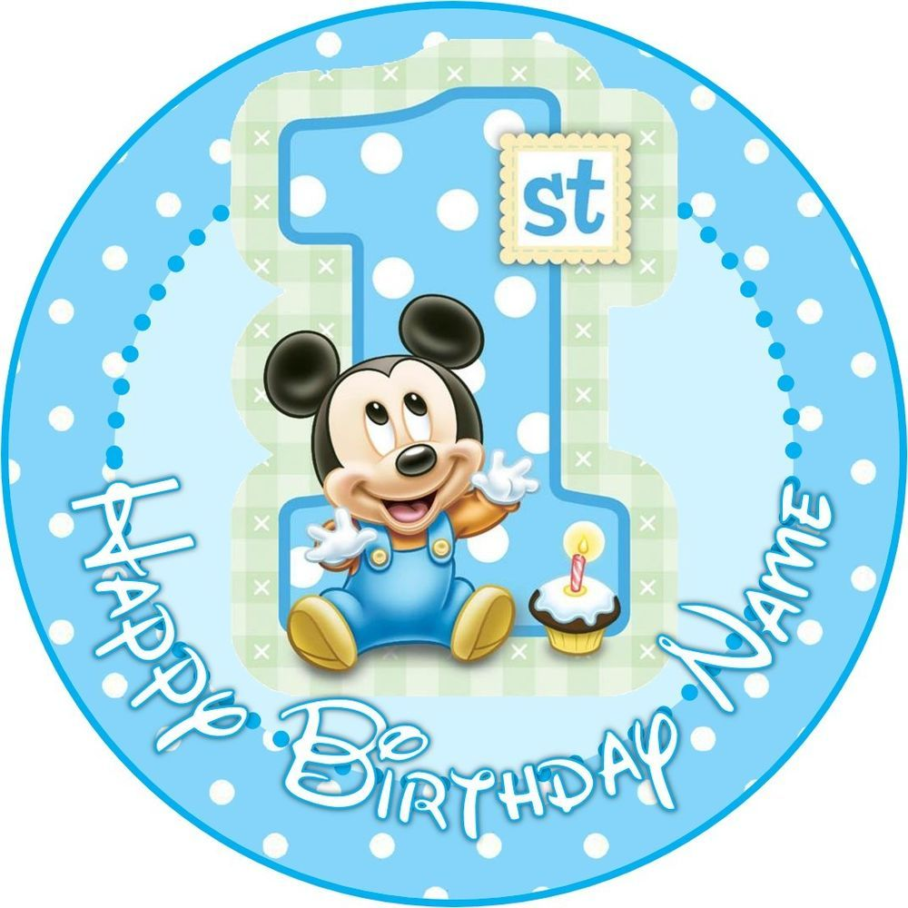 EDIBLE Baby Mickey Mouse Cake Topper 1st Birthday Wafer Paper 75