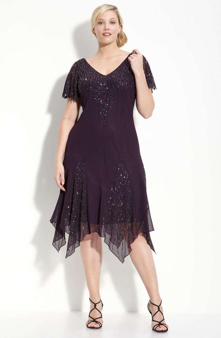 Awesome great gatsby dress j kara beaded godet dress plus size