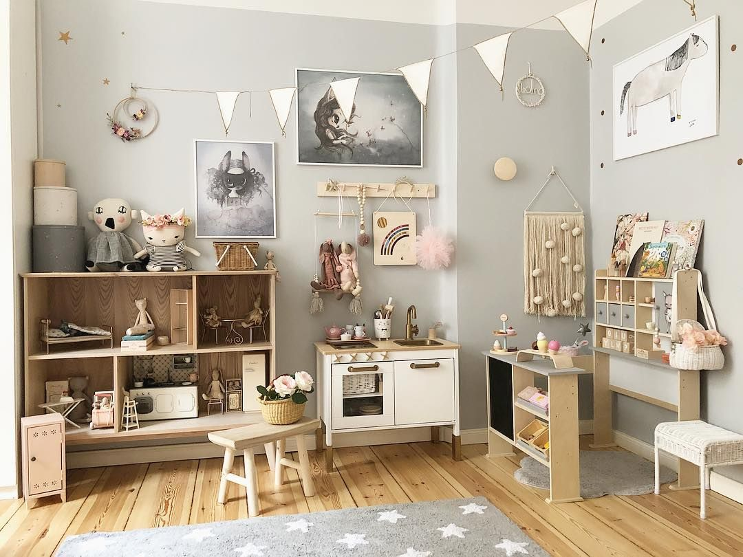 Neutral Kids Playroom Inspiration With Natural Wood Grey