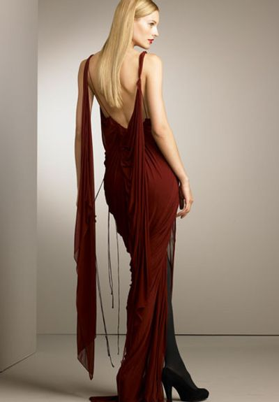 "Donna Karan draped gown - I think she ""gets"" a woman's body."