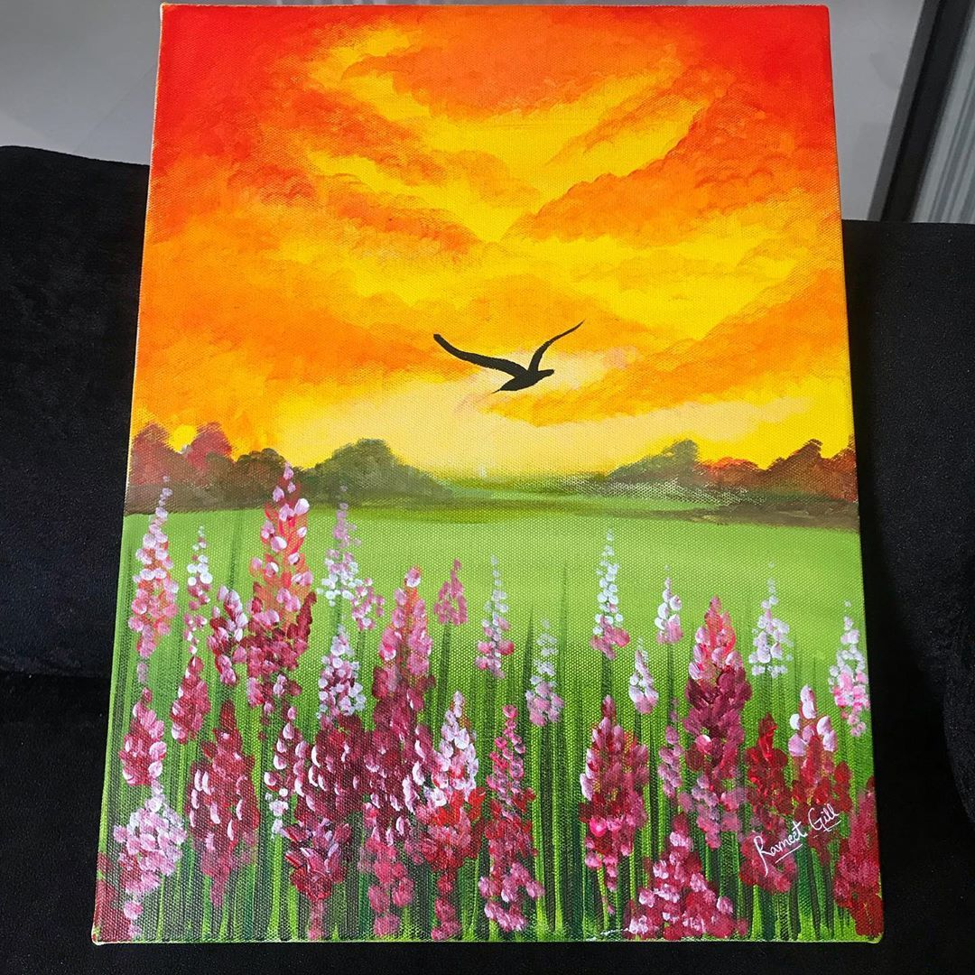 "Artwork By Ravneet Gill✨ on Instagram: ""Every sunset brings the promise of new dawn✨🌝🌺 #Canvaspainting #canvasart #canvasartwork #canvasboard #canvasboard #sunset #bloomingflowers…"""