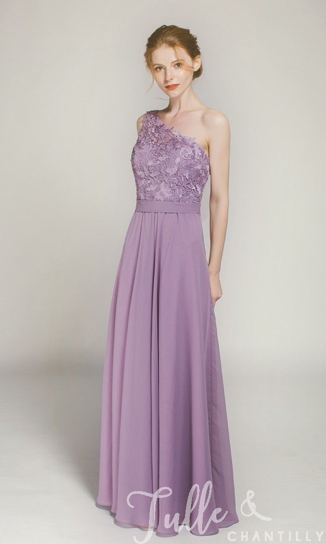 fcc5e9ee109 Long One Shoulder Lace Bridesmaid Dress with Chiffon Skirt TBQP363 click  for 40+ colors