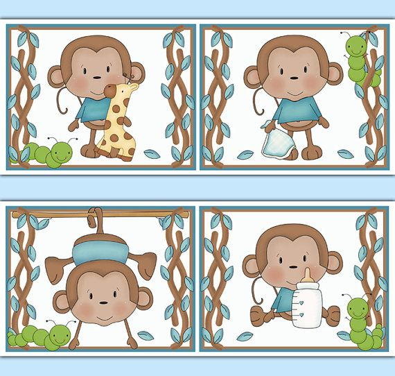MONKEY WALLPAPER BORDER Decal Wall Art Boy Safari Animals Nursery Stickers Decor Kids Jungle Room Childrens Hanging Swinging Monkey Bedroom #decampstudios