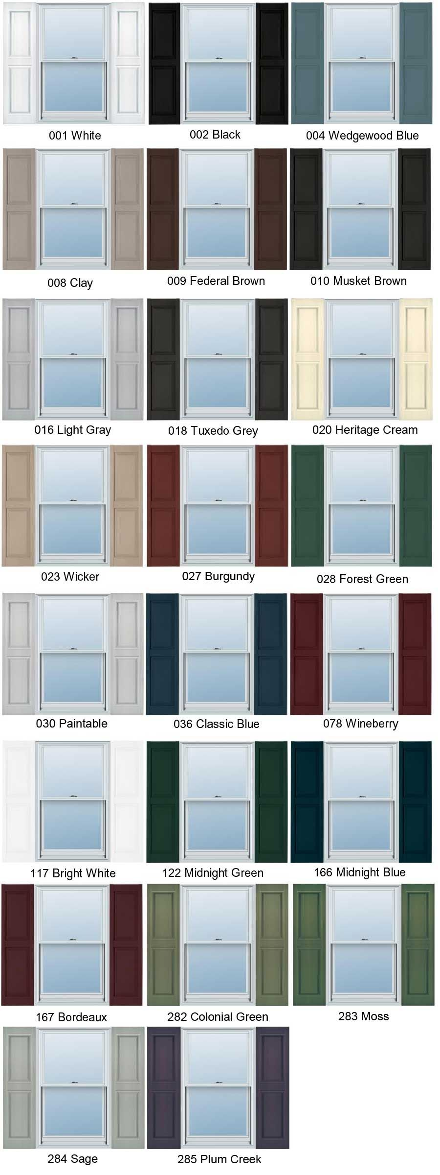 Home Depot Plastic Shutter Colors