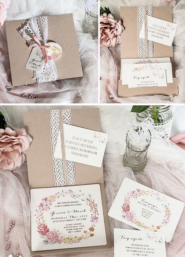 Einladungskarte Hochzeit «Alexandra» aus Kraftpapier mit Spitze, Rustikal, Vintage