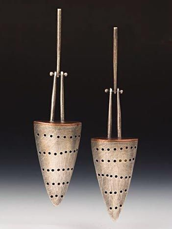 Earrings | Baharal Gnida. 'Perforated Cone' Sterling (patina), copper