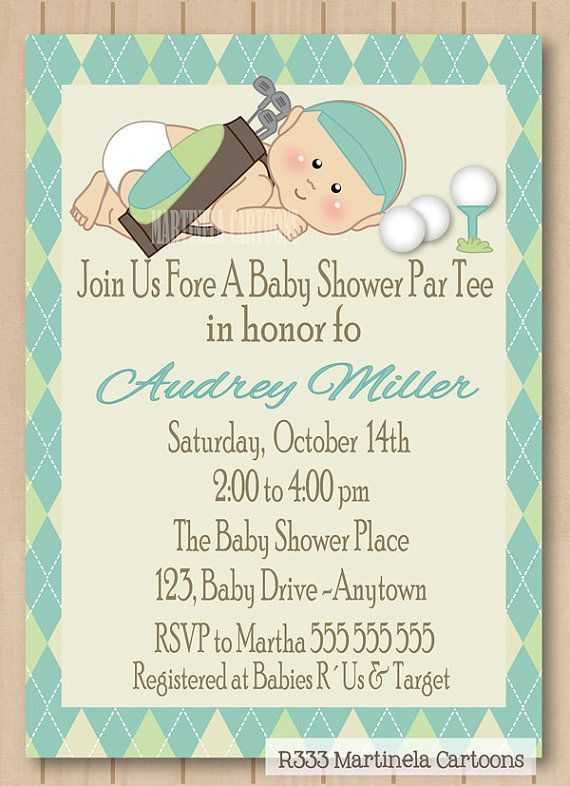 High Quality Golf Baby Shower Invitation, Golf Par Tee Invite, Blue Green Argyle  Pattern, One Of A Kind Personalized Baby Boy Digital Invitation.