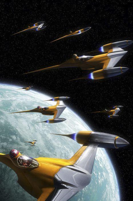 Star Wars Naboo Starfighters 2 Wall Mural Photo Wallpaper Star Wars Images Star Wars Ships Star Wars Vehicles