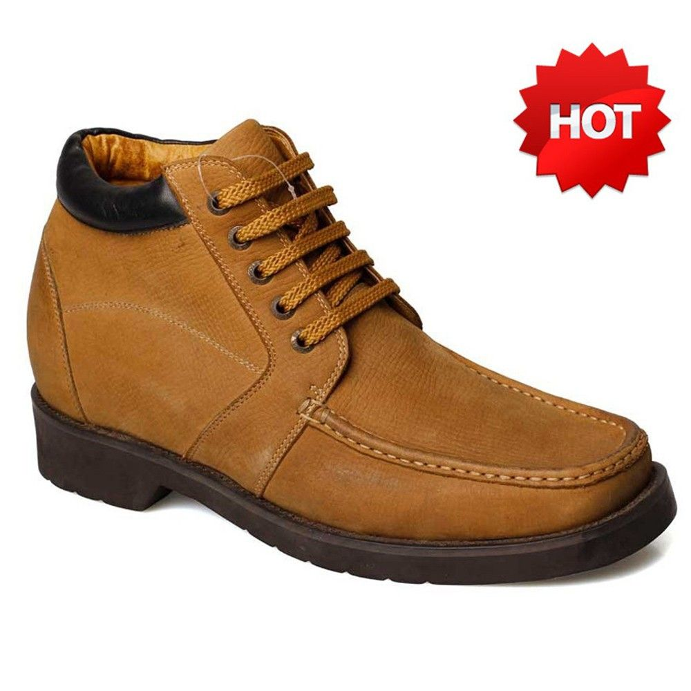 Yellow Suede Leather Height Insoles Casual Shoes For Men Increased