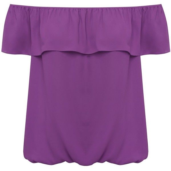 M&Co Bardot Top ($25) ❤ liked on Polyvore featuring tops, bright purple, jersey top, summer tops, purple jersey and purple top