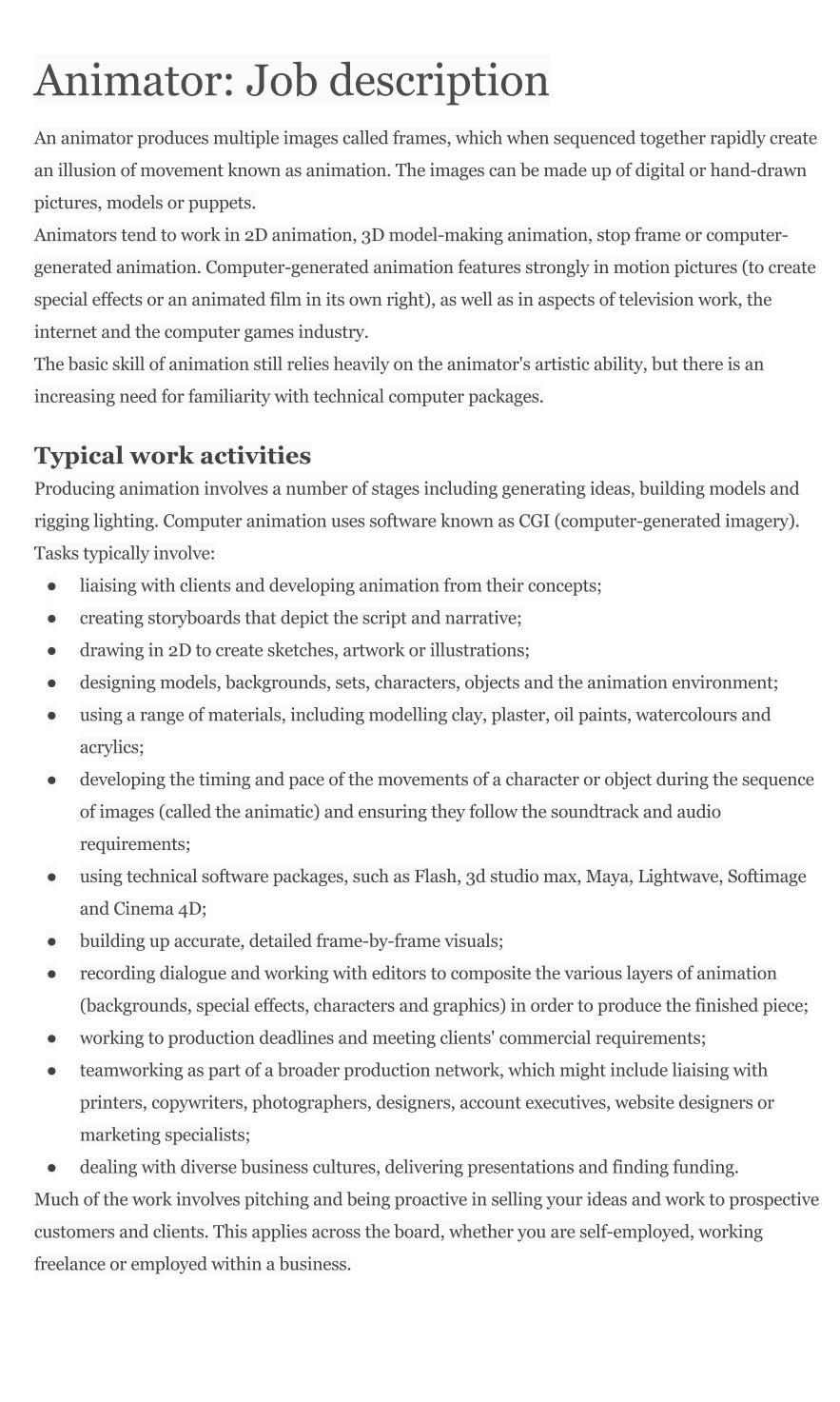 animator job description